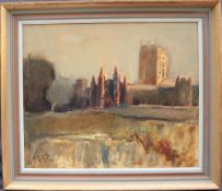 Will Roberts St. David's Cathedral Initialled, inscribed and dated 1983 verso Oil on canvas 49.