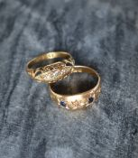 An 18ct yellow gold sapphire and diamond gypsy ring, together with a four stone diamond gypsy ring,