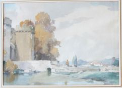 "Frank Sherwin (1896 - 1986) ""The border keep Whittington"" Signed Inscribed Royal Institute of"