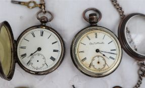 A late Victorian silver open faced pocket watch with an enamel dial,