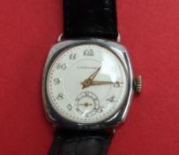 A Gentleman's silver Longines wristwatch,