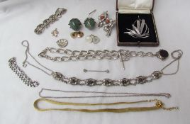 A Danish silver leaf form brooch together with a silver Albert chain, brooches, bracelet,