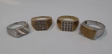 A gentleman's 9ct yellow gold diamond set signet ring, set with sixteen diamonds, size Y 1/2,