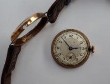 A Gentleman's 9ct yellow gold Pierce wristwatch,