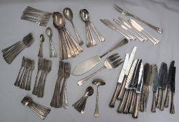 A Leonardt & Fiegel 800 standard part flatware service comprising five table forks,