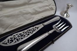 A pair of Victorian silver knife and fork fish servers, with pierced blade and tines, Sheffield,