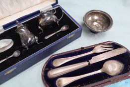 A Victorian silver knife, fork and spoon christening set, Sheffield, 1880, Martin Hall & co, cased,