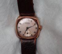 A Gentleman's 9ct yellow gold Roamer wristwatch,
