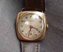 A Gentleman's 9ct yellow gold Buren wristwatch,