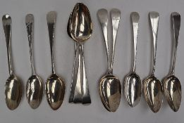 A pair of George III silver table spoons, London, 1810, Thomas Wallis (II) and Jonathan Hayne,