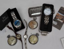 Two Ingersoll open faced pocket watches, together with another pocket watch,
