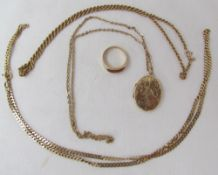 A 9ct yellow gold locket of oval form on a 9ct gold chain,