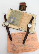 A Gentleman's Nivada compensamatic wristwatch, with a silvered dial and batons,