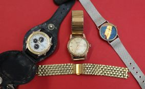 A Gentleman's Cauny automatic wristwatch, the gilt dial with Arabic numerals and batons,