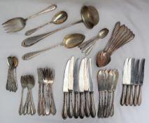 A J A Henckels Solingen 800 standard part flatware service, comprising silver table forks,