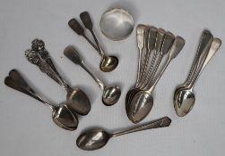 A set of six George III silver teaspoons, London, 1830,