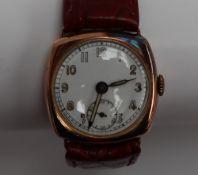 A Gentleman's 9ct yellow gold wristwatch,