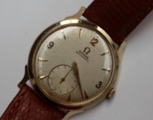 A Gentleman's Omega automatic wristwatch, the silvered dial with Arabic numerals and batons,