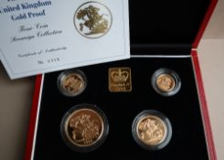 Royal Mint - The 1998 United Kingdom Gold Proof four coin Sovereign Collection,