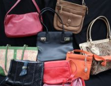 A black leather Salvatore Ferragamo handbag,