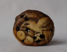 A Japanese carved stag antler manju netsuke in the form of an eagle amongst flower heads,