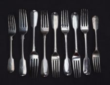 A set of five William IV silver fiddle pattern table forks, London, 1836, possibly Mary Chawner,