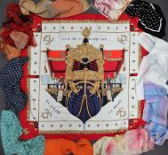 A Hermes silk scarf - Vue du Carrosse de la Galere la Reale together with a collection of silk and