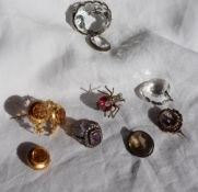 An amethyst and marcasite ring, to a silver setting and shank, together with a citrine set brooch,