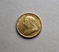 A Victorian gold sovereign dated 1893