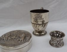 A late Victorian silver pedestal Christening mug, with gadrooned decoration and a spreading foot,
