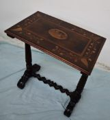 A Victorian and later yew and marquetry decorated Killarney occasional table of rectangular form,