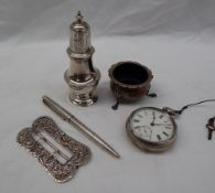 A George V silver pepperette with a domed pierced top with a turned finial,