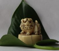 A 19th century Japanese ivory netsuke depicting a shi shi lion dog on an oval base,