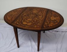 A 19th century continental inlaid Pembroke table, decorated with vases of flowers,