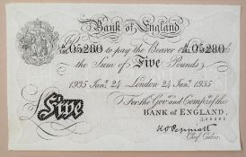A Bank of England white Five Pounds note, Kenneth Oswald Peppiatt, London, dated 24th January 1935,