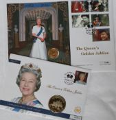 The Queen's Golden Jubilee Great Britain Gold Sovereign Commemorative Coin Cover, edition limit 1,