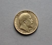 An Edward VII gold sovereign dated 1904