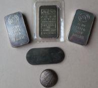 Two silver ingots, marked ARGOR S.A. Chiassao, Gr. 100 Silber 999.