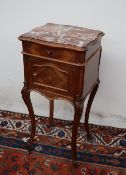 A French marble topped side cabinet,