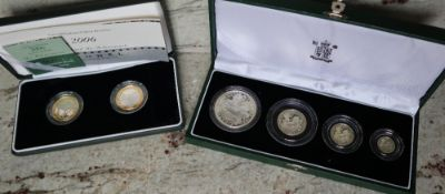 Royal Mint - 1997 silver proof Britannia collection, comprising two pounds, One pound,