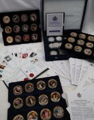 Royal Mint - A collection of Diamond Wedding silver coins together with a collection of Diamond