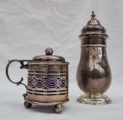 An Elizabeth II silver sugar caster, with a turned pierced domed top,
