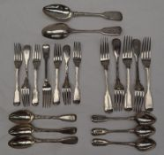 A set of five Victorian silver fiddle and thread pattern table forks, London, 1860, Chawner and Co.