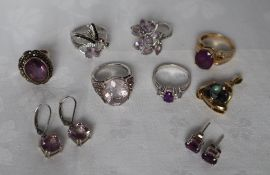 A 9ct gold amethyst set dress ring together with assorted silver rings and earrings set with purple