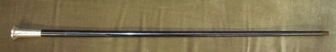 A silver topped and ebonised walking cane