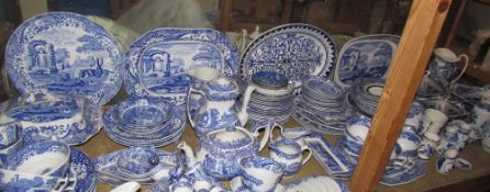 An extensive Spode blue and white part tea and dinner set including bowls, plates, tea pot,