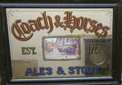 A coach and horses advertising wall mirror
