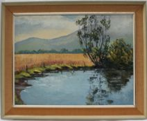 """Frederick Firth """"The Dub"""" Oil on board Initialled Label verso 46 x 59."""