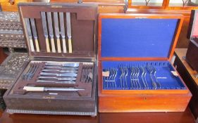 An oak cased part flatware service together with another part flatware service