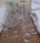 Glass steins together with other drinking glasses etc